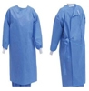 Picture of This AAMI Level 3 disposable gown features knit/elastic cuffs, tie back and tie neck, long sleeves, and knee-length coverage. This product features 50 GSM weight with polyethylene coating to repel liquids. Key features include:  2-layer protection, AAMI level 3 protection, latex free, tieback and tie neck, knitted cuffs Coming Soon! option for Gown product (BlueSkyBio.com)