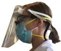 Picture of The SimpleSHIELD is a dental face shield design for wearing with dental loupes and N95 respirators. Featuring FDA-approved foam, PET shield and latex-free rubber head strap the simple design allows for easy fitting and comfortable performance all day.